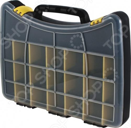 Ящик для крепежа FITОрганайзеры. Ящики для крепежей<br>Ящик для крепежа FIT выполнен в форме кейса и служит для хранения, а также для переноски крепежных изделий. Состоит из 22 отделений, где удобно размещается все необходимое. С помощью переставных перегородок можно регулировать размеры ячеек. Прозрачная крышка позволяет видеть расположение крепежа. Две пластиковые защелки защищают чемоданчик от случайного открывания.<br>