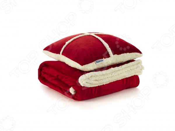 Фото Набор Dormeo Warm Hug: декоративная подушка и плед. Цвет: красный