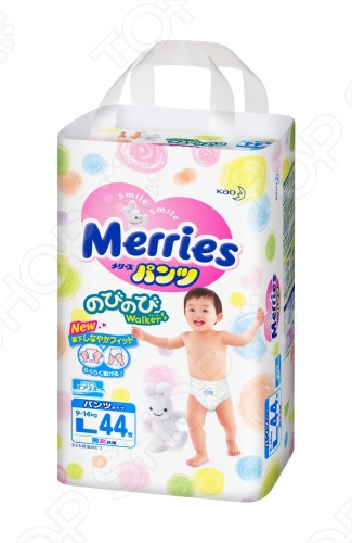Трусики-подгузники Merries размер L 9-14 кг + 2 шт merries подгузники для детей размер м 6 11кг 64шт