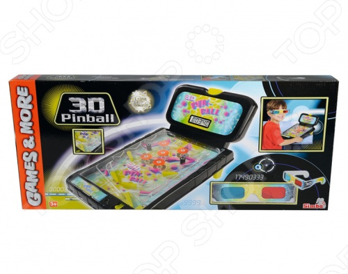 Пинбол 3d настольный SimbaБоулинг. Пинбол настольный<br>Пинбол 3d настольный Simba увлекательная и развивающая игра для вашего малыша. Цель игры заключается в том, чтобы не дать шарику скатиться вниз. Катаясь по игровому полю, шарик ударяется о стенки и различные препятствия, принося игроку очки. Наличие 3D эффекта сделает игру объемной, что обязательно понравится вашему малышу. Игрушка изготовлена из высококачественного пластика, который полностью безопасен для детей. Изделие работает на двух батарейках. Пинбол 3d настольный Simba поможет развить координацию движений, ловкость, реакцию и логическое мышление вашего ребенка.<br>