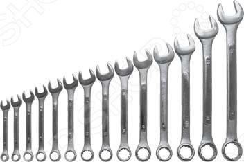 Набор ключей комбинированных усиленных FIT состоит из 14 инструментов, которые предназначены для работы с крепежом. Они выполнены из штампованной инструментальной стали и имеют хромированное покрытие, что делает их более прочными и стойкими к коррозии. Изделия сочетают в себе рожковый и накидной ключи размером от 8 до 24 мм.
