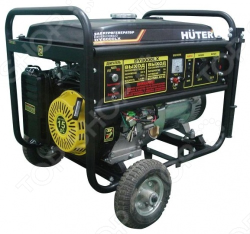 Электрогенератор с колесами Huter DY8000LX бензиновый генератор huter dy8000lx 220 в 7квт