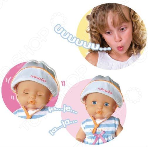 Пупс Famosa Nenuco - станет отличным подарком для девочки. Малышка Ненуко так похожа на настоящего младенца, она одета в милый детский комплект одежды. Куколка обладает одной особенностью - она может икать. Что бы икота не мучила малышку ее нужно напугать, тогда она закроет глазки, засмеется и икота пройдет. В процессе игры с пупсом у ребенка развивается воображение, происходит социальная адаптация. Кукла выполнена из качественных и безопасных материалов. Высота куклы - 42 см.