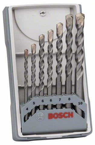 Набор сверл по бетону Bosch X-Pro CYL-3 Silver Perc, 7 шт. набор сверл по бетону bosch cyl 9 7 шт