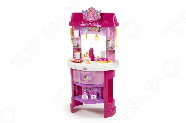 Кухня детская Smoby «Принцессы Дисней»Сюжетно-ролевые наборы<br>Кухня детская Smoby Принцессы Дисней - станет отличным подарком для любой девочки. На этой яркой и красочной кухне маленькая хозяюшка найдет все необходимое для того что бы приготовить вкусный обед для своих любимых кукол, а возможно ей даже захочется накрыть праздничный стол и позвать в гости своих друзей. Набор отлично подходит для сюжетно-ролевых игр, которые позволят привить ребенку любовь к порядку и чистоте, а так же знакомят малышку с правилами работы кухонной утвари и техники. Так же в процессе игры у ребенка активно развивается фантазия, память, ассоциативное и логическое мышление. Комплект выполнен из качественного, нетоксичного пластика, абсолютно безопасного для здоровья ребенка. Кухня обладает множеством полочек для удобного хранения аксессуаров, раковиной и небольшой духовкой. В комплект входит 22 аксессуара.<br>