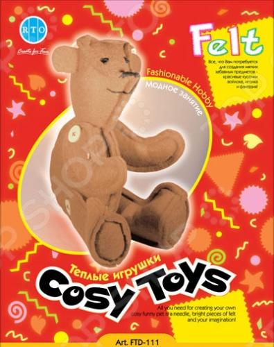Набор из фетра RTO Медведь это новый вид украшений из фетра. Теперь вы сможете вместе с ребенком сделать оригинальную игрушку, которая украсит детскую комнату.