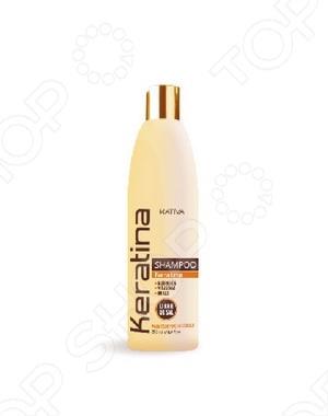 Шампунь укрепляющий с кератином для всех типов волос Kativa это отличный укрепляющий шампунь, который богат кератином, обеспечивает надежную защиту и восстановление окрашенных волос. Кроме того, подойдет для поврежденных механическим или температурным способом волос. Обеспечивает волосам дальнейшую защиту и предотвращает ломкость.