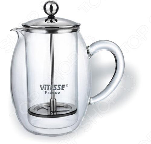 Кофеварка френч-пресс Vitesse поможет приготовить кофе или чай, подойдет для сервировки стола. Имеет фильтр и крышку из нержавеющей стали. Корпус и ручка сделаны из термостойкого стекла. Можно мыть в посудомоечной машине.