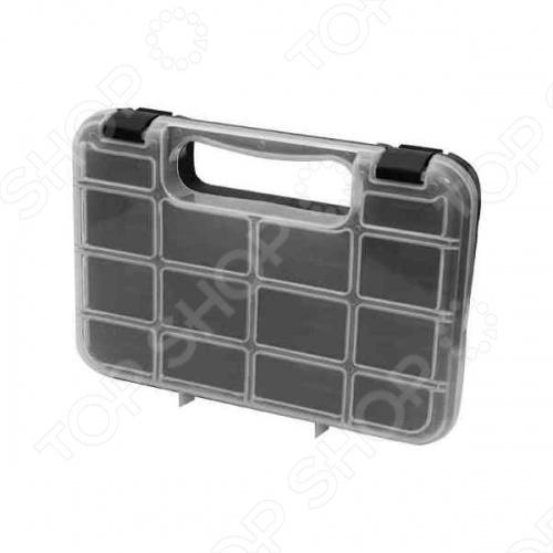 Ящик для крепежа FIT 65643 из прочного пластика. Отличный вариант для хранения болтов, шурупов, гаек, гвоздей и прочих мелких изделий. Выполнен из прозрачного пластика, что позволяет видеть его содержимое. Предусмотрена ручка для удобства транспортировки. Всего 12 отделений.