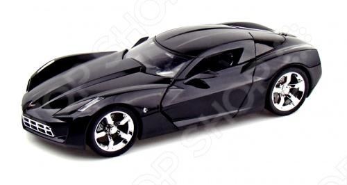 Модель автомобиля 1:18 Jada Toys Corvette Stingray Concept - Glossy 2009 это коллекционная модель, которая является копией настоящего автомобиля. Она изготовлена из металла с элементами пластика. У машинки двигаются колеса. Машинка является отличным подарком не только ребенку, но и коллекционеру. Однако, во время игры с такой машинкой у ребенка развивается мелкая моторика рук, фантазия и воображение.