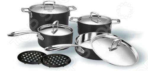 Набор кухонной посуды Vitesse Elain изготовлен по технологии Di-Ply - двухслойные стенки анодированный алюминий и нержавеющая сталь . Литые ручки из нержавеющей стали крепятся на клепки. Нагрев можно осуществлять на газовых, стеклокерамических, чугунных и галогенных конфорках.