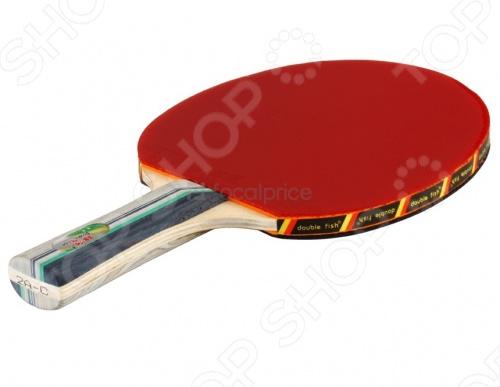 Ракетка для н т с шариками Double Fish 2A-C 2star - для любителей и начинающих игроков. Рукоятка ракетки выполнена из дерева. Двойное резиновое покрытие обладает хорошей эластичностью, что делает ракетку легкой в управлении и придает игроку уверенность в контроле над шариком.