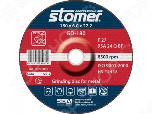 Диск шлифовальный Stomer по металлу диск makita d 28547 ce60 шлифовальный по металлу и нержавеющей стали 180x6x22 2mm