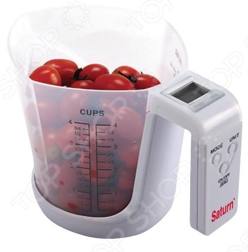Весы кухонные Saturn ST-KS7800Кухонные весы<br>Весы кухонные Saturn ST-KS7800 не только помогут подобрать правильные пропорции ингредиентов для приготовления блюд, но и измерят объем жидкостей. Это возможно благодаря наличию шкалы уровня жидкости. Максимальный вес взвешивания 2 кг, а мерная чаша способна измерять жидкость объемом до 1200 мл. Весы оборудованы сенсорами погрешности и ЖК-дисплеем, который показывает каждый грамм. С этим прибором вы сможете готовить новые, сложные блюда, в которых так важно строго соблюдать пропорции.<br>