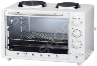 Мини-печь Redber EO-3450Настольные мини-печи<br>Мини-печь Redber EO-3450 станет надёжным и часто используемым прибором, на вашей кухне, с помощью которого вам удастся приготовить множество замечательных блюд, самых разных кухонь. Приятный внешний вид позволит установить его, не нарушая идиллию интерьера помещения, а надёжность и отличные характеристики позволят вам радоваться долгим сроком службы. Печь может работать как гриль, а также жарить и запекать, но только в меньших объемах, чем стандартный духовой шкаф. Оснащена терморегулятором от 0 до 250 градусов, а 2 конфорки обладают мощностью от 700 до1000Вт.<br>