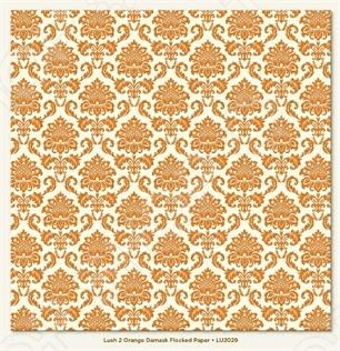 фото Бумага двусторонняя флокированная Morn Sun Orange Damask Flocked, купить, цена
