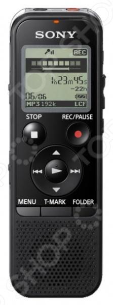 Диктофон Sony ICD-PX440 это карманный цифровой диктофон с большим функционалом, который может оценить по достоинству любой журналист. Им можно записывать 44.6 часов с высоким качеством и 1073 часов с низким качеством . Модель оборудована дисплеем для удобной работы и настройки, а также оснащена кнопкой быстрой записи. Имеет индикатор заряда батареи и оставшегося времени записи. Диктофон может не только записывать качественный звук, но и воспроизводить его при помощи фронтального динамика, что делает его более функциональным. Благодаря USB интерфейсу, диктофон можно подключить к компьютеру и передавать с него записанные данные. Обладает дополнительными функциями:  органайзер  часы  блокировка кнопок  пауза  сканирование сообщений.