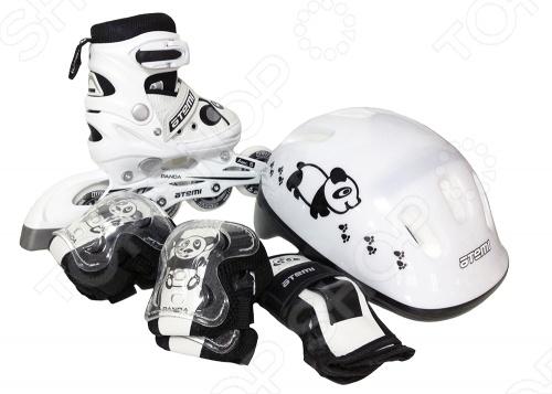 Роликовые коньки с комплектом защиты и шлемом Atemi AJIS-12.08 Panda