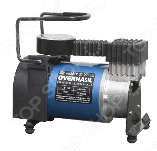 Компрессор автомобильный Overhaul OH 6069 - это компрессор, который легко и без особого труда поможет накачать спущенное колесо. Для удобства в использовании он работает от питания гнезда прикуривателя, благодаря этому подходит практически для всех автомобилей. Основные детали изготовлены из легированной стали и специального легированного алюминия. Анкерные шпильки и другой крепеж соединяют электромотор с компрессором в единый жесткий узел, исключая появление зазоров в сопряженных деталях в процессе эксплуатации. Электромотор с мощными постоянными магнитами. Шатун установлен и вращается на кривошипе на долговечном подшипнике качения Маховик с противовесом обеспечивает снижение вибрации, шума, динамических нагрузок. Блок и головка компрессора изготовлены с дополнительным оребрением для улучшения теплоотвода и охлаждеия деталей. Якорь электромотора вращается в двух усиленных, закрытых подшипниках качения. Градуировка шкалы манометра обеспечивает точный отсчет давления 1 деление - 0,10 кг см2 . Поршень оснащен легкими и надежными лепестковыми клапанами и термостойким полимерным уплотнением. Длинный многожильный медный провод со встроенным предохранителем со штекером.