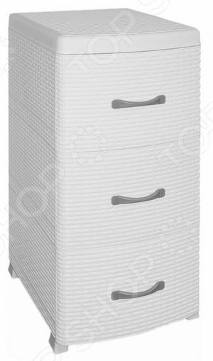 Комод Violet 0356 представляет собой удобный и практичный предмет мебели, который отлично впишется в интерьер вашей ванной комнаты, кухни, спальни иди прихожей. Модель снабжена тремя выдвижными ящиками, подходит для хранения вещей, различных аксессуаров и принадлежностей. Комод изготовлен из высококачественного ударопрочного пластика в черной цветовой гамме.