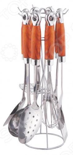 Набор кухонных принадлежностей Bohmann 7755Наборы кухонных принадлежностей<br>Набор кухонных принадлежностей Bohmann 7755 это отличный набор приборов, которые ежедневно необходимы вам на кухне. В данном наборе вы найдете: половник, венчик, ложку, картофелемялку, шумовку, ложку с отверстием, вилку, лопатку. Вы сможете закрепить приборы на настенной вешалке, либо на подставке. Этот комплект очень удобен в использовании, ведь ручки не нагреваются.<br>