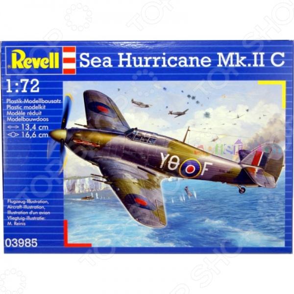 Сборная модель истребителя Revell Sea Hurricane Mk.II CАвиамодели<br>Сборная модель Sea Hurricane Mk.II C представляет собой точную копию настоящего военного самолета. Состоит из 55 деталей, которые юный механик должен собрать сам. Во время игры с такой крылатой машиной у ребенка развивается мелкая моторика рук, фантазия и воображение. Британский одноместный истребитель времен Второй мировой войны выпущен известной компанией по производству игрушек Revell. Изготовлен из пластика и обладает потрясающей детализацией. Сборная модель Sea Hurricane Mk.II C является отличным подарком не только ребенку, но и коллекционеру. Клей, кисточка и краски в комплект не входят.<br>