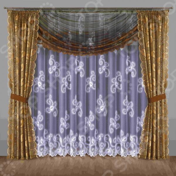 Комплект штор Wisan 201WШторы<br>Комплект штор Wisan 201W это качественный оконный занавес, который преобразит интерьер и оживит атмосферу, придав всей комнате домашний уют, завершенность и оригинальность. Шторы изготовлены из полиэстера, который практически не мнется, легко отстирывается от загрязнений, не притягивает пыль и не требует глажки. Благодаря этому ткань способна выдержать сотни стирок без потери цвета и прочности. Обычные материалы со временем выгорают, на них собирается пыль, появляются неприятные запахи. С полиэстером этого не происходит штора почти не пачкается и не впитывает запахи, при этом вы очень легко ее постираете и высушите. Интерьер квартиры или дома, в котором окна не украшены занавесом, сегодня трудно представить, поэтому шторы станут отличным подарком для любого человека. Купить шторы способ недорого, быстро и изящно преобразить дизайн домашнего интерьера!<br>
