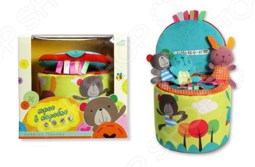 Игрушка развивающая Bobbie &amp;amp; Friends «Трое в коробке»Мягкие развивающие игрушки<br>Игрушка развивающая Bobbie Friends Трое в коробке отличается яркостью красок, привлекающих детское внимание, а так же высоким качеством исполнения каждой детали. Приятная на ощупь игрушка, несомненно придется по душе вашему малышу, а милый писк, издаваемый медвежонком Бобби, кошечкой Кэтти и зайкой Фанни будет радовать детский слух. Подарите своему малышу возможность играть и развиваться вместе с Bobbie Friends Трое в коробке .<br>