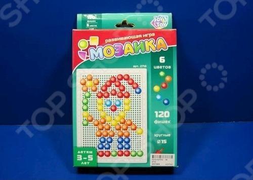 Мозаика Joy Toy Р40559Мозаика<br>Мозаика Joy Toy Р40559 увлекательная развивающая игра, которая направлена на развитие фантазии и внимания ребенка. Кроме того, игрушка помогает выработать усидчивость и научить малыша работать по плану если он будет собирать изображение, следуя картинке на коробке . В наборе 120 фишек, 6 цветов.<br>