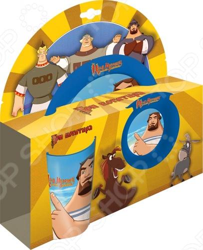 Набор посуды для детей из 3 предметов Илья с изображением героев мультфильма Богатыри - Ильи Муромца. Набор изготовлен из пластика и включает в себя: тарелку, пиалку и стакан. Посуда со стерео эффектом. Упакован в красочную подарочную картонную коробку.