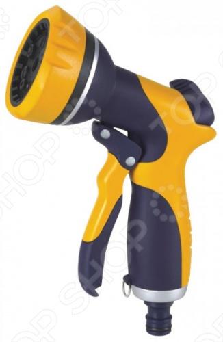 Пистолет для полива FIT - это 6 режимный профессиональный инструмент для полива и орошения садово-огородных участков. Поворотное сопло позволяет регулировать подачу воды от струи до распыления. Пистолет можно присоединить к шлангу, а так же совместим со всеми элементами аналогичной поливочной системы. Корпус из ABS пластик с прорезиненными вставками. Рабочий диапазон температур: от 0 С до 50 С. 6 режимов:  прямая струя  водная пыль  мягкий дождь  прямое распыление  душ  плоская струя