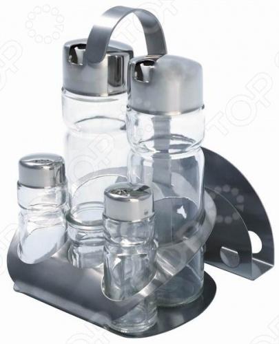 Набор для специй Regent 93-DE-AR-07 состоит из 6 предметов - солонки, перечницы, емкости для уксуса, емкости для масла, металлической подставки. Емкости изготовлены из стекла с крышками из нержавеющей стали. Компактный набор для приправ будет прекрасным и функциональным дополнением, как к кухонному, так и праздничному столу.