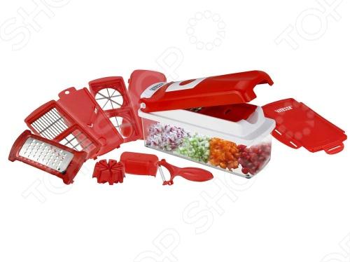 Овощерезка Vitesse Classiс VS-8668Измельчители. Овощерезки. Чопперы<br>Овощерезка Vitesse Classiс VS-8668 в ярком дизайне способна за минимум времени измельчить абсолютно любые продукты дольками, пластинами, кубиками, соломкой, нарезать лук и чеснок, фрукты и овощи, натереть сыр, шоколад, цедру лимона и апельсина, нашинковать репу, редис, яблоки, колбасу, ветчину, яйца, а также фрукты и овощи для салата. Благодаря острым сменным лезвиям из нержавеющей стали нарезка даже самых твердых продуктов не составит никакого труда, будет легкой, комфортной и очень приятной! После первичной обработки продукты попадают в прозрачный контейнер объемом 1500 мл., за счет чего ваша рабочая поверхность остается абсолютно чистой! Вы всегда будете видеть, насколько заполнен герметичный контейнер. Закройте крышку на защелки и оставьте нарезанные, нашинкованные или натертые продукты для того, чтобы приготовить желаемое блюдо позже! Овощерезка Vitesse Classiс VS-8668 продуманна до мелочей, очень проста и удобна в использовании! Дополнительный комфорт в эксплуатации дает возможность ее использования в посудомоечной машине. Согласно давней европейской традиции, хороший повар должен не только виртуозно владеть искусством приготовления, но еще и проявлять фантазию, подавая блюдо. Сегодня даже самая молодая и начинающая хозяйка хочет не только приготовить вкусную еду, но сделать это быстро и красиво. Для этого не нужно прилагать больших усилий достаточно лишь быть в хорошем настроении и иметь под рукой многофункциональную овощерезку Vitesse Classiс VS-8668!<br>