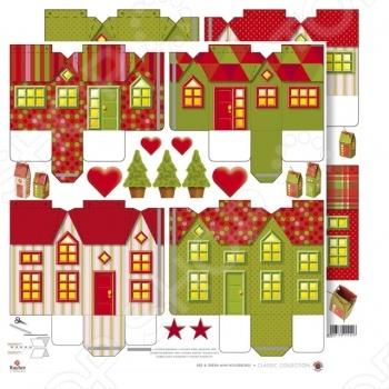 фото Бумага для скрапбукинга Rayher «Новогодние домики», купить, цена