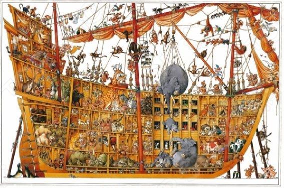 Пазл 2000 элементов Heye «Ноев ковчег» Jean-Jacques LoupПазлы (1001–3000 элементов)<br>Игра Пазл была изобретена более двухсот лет назад в Англии и с тех пор не теряет своей актуальности, продолжая с каждым годом набирать всю большую и большую популярность у поклонников развивающих игр и головоломок. Объясняется все тем, что собирание пазлов это не просто интересное и увлекательное времяпрепровождение, а возможность самостоятельно создать чудесную картину. Пазл 2000 элементов Heye Ноев ковчег Jean-Jacques Loup станет прекрасным подарком как для ребенка, так и для взрослого. По утверждениям психологов, собирание головоломки способствует развитию цветового восприятия, мелкой моторики рук, воображения и когнитивного мышления; делает вас более усидчивым, внимательным и организованным. После же, сложенную картину можно склеить с помощью специального клея для пазлов и украсить ею интерьер комнаты. За основу сюжета для пазла взята картина французского художника Жан-Жака Лоупа. Пазлы изготовлены из плотных материалов; отличаются яркой цветовой гаммой, высоким качеством полиграфии и точной нарезкой деталей, обеспечивающей их хорошую стыковку друг с другом. Размер сложенного изображения 96,6х68,8 см.<br>