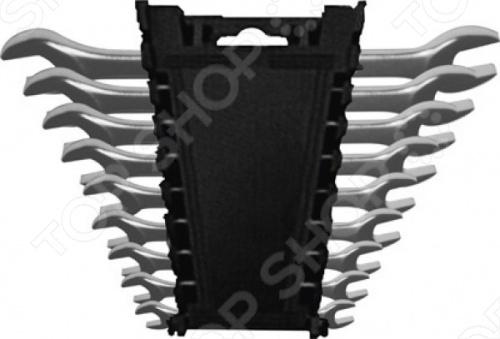 Набор ключей рожковых FIT 63515Рожковые ключи<br>Ключи рожковые Модерн FiT - это стандартный набор из девяти гаечных ключей с хромированным покрытием от 6 до 22 мм , предназначенных для закручивания болтов, гаек или других деталей. Ключ с рабочим профилем охватывает крепежную деталь с двух сторон. Рабочая область ключа повёрнута под углом 15 к продольной оси инструмента, что обеспечивает больший рабочий диапазон в труднодоступных местах. В комплекте предоставляется удобный пластиковый держатель для инструментов.<br>