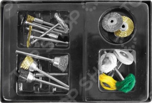 Набор корщетков и шарошков FIT 36491 это набор из различных насадок для гравировальной машинки бытового использования. Он предназначен для шлифовальных работ по металлу, пластику и другим материалам с использованием гравировальных машинок. Набор корщетки и шарошки в чемоданчике 17 штук. В комплекте вы найдете хлопковые круги мини, корщетки-насадки типы колесо , венчик и чашка нейлоновая, стальная и стальная латунированная волнистая проволока , корщетки-насадки без штифта тип колесо нейлоновая и стальная волнистая проволока , штифт для мини-корщетки насадки.