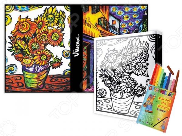 Папка-раскраска Color Velvet «Ван Гог»Наборы для раскрашивания<br>Папка-раскраска Color Velvet Ван Гог это набор, содержащий все необходимое для создания красивой папки на кольцах, в которой вы сможете хранить свои бумаги. Уникальной особенностью набора являются мягкие контуры заготовки: вельветовые границы не дадут не дадут фломастерам растечься, а цветам перемешаться. Набор будет одинаково интересен и взрослым, и детям. Чтобы создать свой дизайн папки, просто возьмите фломастеры идут в комплекте , и раскрасьте белый фон по своему вкусу! В состав каждого набора входит заготовка с мягкими контурами, 10 маркеров на водной основе и вариант раскрашивания от дизайнеров Color Velvet. Все вместе упаковано в полипропиленовый пакет. Продукция произведена в Италии и соответствует европейским стандартам качества и безопасности.<br>