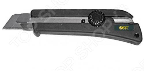 Нож технический FIT ПрофиСтроительные ножи<br>Нож технический FIT Профи м универсален и очень удобен в использовании. К особенностям данной модели можно отнести - отламывающееся стальное лезвие с вращающимся пластиковым прижимом. Материал: корпус выполнен из soft-touch мягкого пластика, усиленный металлической направляющей. Упаковка: блистер.<br>
