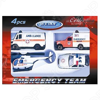 Набор машинок игрушечных Welly «Служба спасения. Скорая помощь» 98630-4B welly welly набор служба спасения скорая помощь 4 штуки