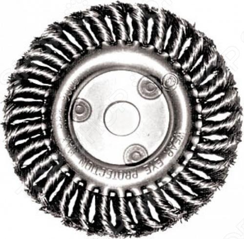 Корщетка-колесо является сменным элементом для угловых шлифовальных машин. Применяется для зачистки от лака, краски и ржавчины различных поверхностей и изделий. Рабочая часть состоит из стальной витой проволоки. Посадочное отверстие 22,2 мм.