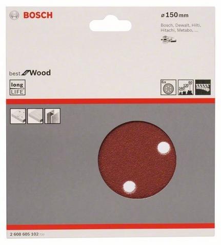 Набор листов для эксцентриковой шлифмашины Bosch Best for Wood, 6 отверстий, 6 шт. new copier parts 10pcs photocopy machine drum cleaning blade for ricoh aficio mpc9000 b234 3564 copier part cleaning blade