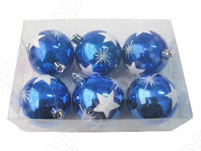 Шары новогодние Irit «Синие звезды»