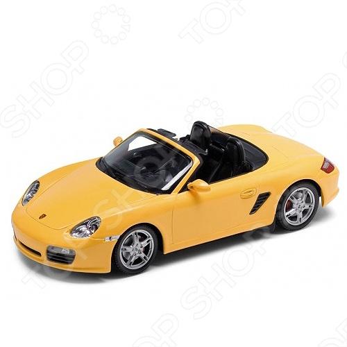 Модель машины 1:24 Welly Porsche Boxster S. Convertible. В ассортиментеМодели авто<br>Модель машины 1:24 Welly Porsche Boxster S. Convertible это коллекционная модель, которая является копией настоящего автомобиля. Она изготовлена из металла с элементами пластика. У машинки открываются двери, двигаются колеса. Машинка является отличным подарком не только ребенку, но и коллекционеру. Однако, во время игры с такой машинкой у ребенка развивается мелкая моторика рук, фантазия и воображение.<br>