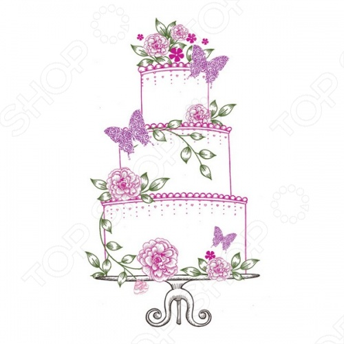 Штамп силиконовый Wild Rose Studio «Свадебный торт»Штампы<br>Штамп силиконовый Wild Rose Studio Свадебный торт станет прекрасным дополнением вашей работы. Краски очень яркие и выполнены из качественных материалов. Картинка продержится долгое время и будет радовать глаз.<br>