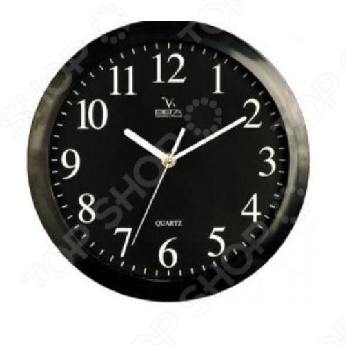 Часы настенные Вега П 1-6/6-6 Черные Арабские Классика часы настенные вега п 1 6 6 7