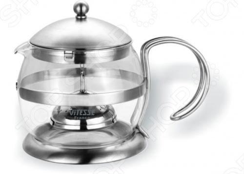 Чайник заварочный с фильтром Vitesse UlemaЧайники заварочные<br>Выполненный в матовой полировке, заварочный чайник Vitesse Ulema будет отлично смотреться на вашем столе. Удобство в эксплуатации обеспечит специальное ситечко для заварки из нержавеющей стали. Колба сделана из термостойкого стекла. Можно мыть в посудомоечной машине.<br>