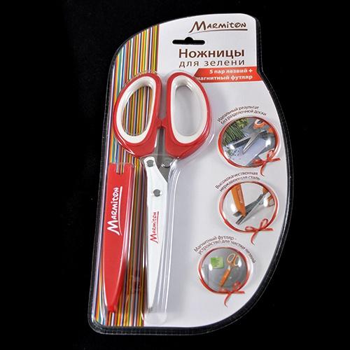 Ножницы для зелени Marmiton 16141Ножницы кухонные<br>Товар продается в ассортименте. Цвет изделия при комплектации заказа зависит от наличия цветового ассортимента товара на складе. Ножницы для зелени Marmiton 16141 предназначены для легкого и удобного нарезания зелени. Для этого в ножницах предусмотрены 5 пар лезвий, толщиной 1 мм каждое. Такие ножницы окажутся отличным помощником на кухне и значительно сократят время нарезки зелени для салатов, супов и других блюд.<br>