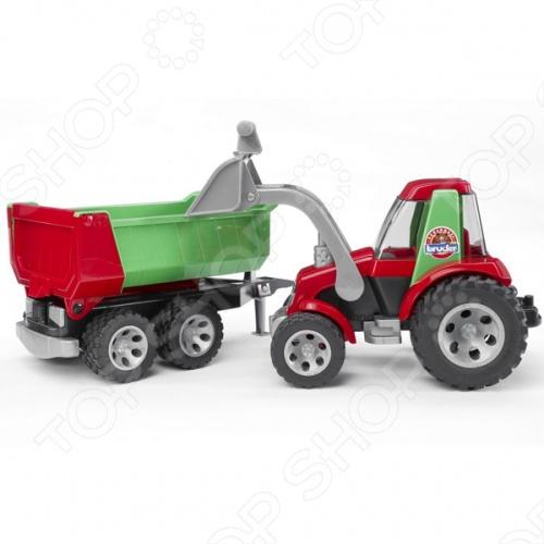 Трактор с ковшом и прицепом Bruder Roadmax 20-116 трактор bruder claas axion 950 03 012