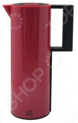 Термокофейник Irit IRH-161Термосы и термокружки<br>Термокофейник Irit IRH-161 объемом 1л имеет пластиковый корпус. Специальная стеклянная колба внутри сохраняет температуру неизменной как горячие, так и холодные напитки до 24 часов. Выполнен в ярком стиле, сочетающем бордовый и черный цвета.<br>